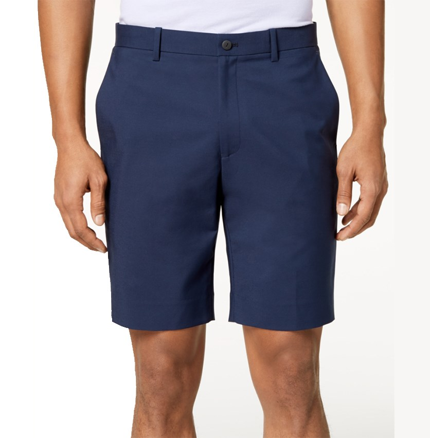 Men's Flat-Front Shorts, Deep Twilight