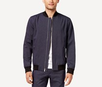 International Concepts Mens Pinstripe Bomber Jacket, Navy