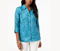 Jm Collection Women's  Textured Blouse, Teal  Tie Dye