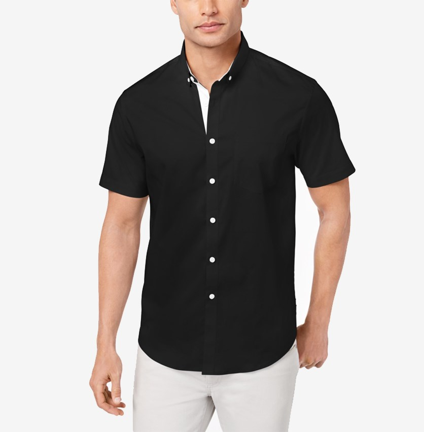 International Concepts Men's Stretch Pocket Shirt, Black