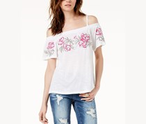 International Concepts Embroidered Off-The-Shoulder Top,  Bright White