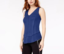 Bar III Ribbed Layered-Look V-Neck Top, Bright Blue
