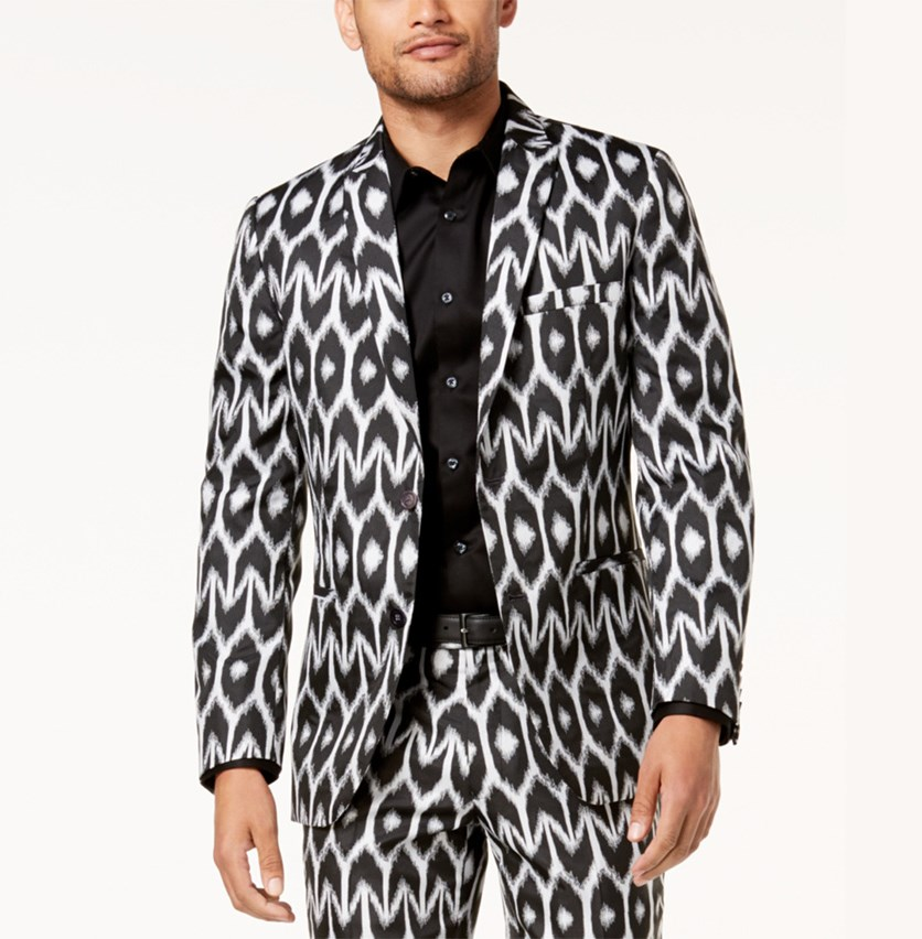 I.n.c. Mr. Turk Men's Ikat Slim Blazer, Black Combo