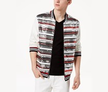INC International Concepts Mens Track Star Sequin Sweater, Stripe White Combo