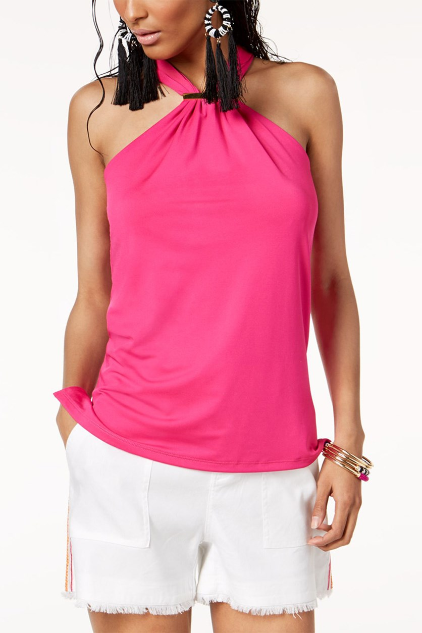 Halter Top with Hardware, Pink Bon Bon
