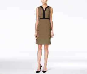 Kasper Women's Colorblocked Sheath Dress, Olive/Black