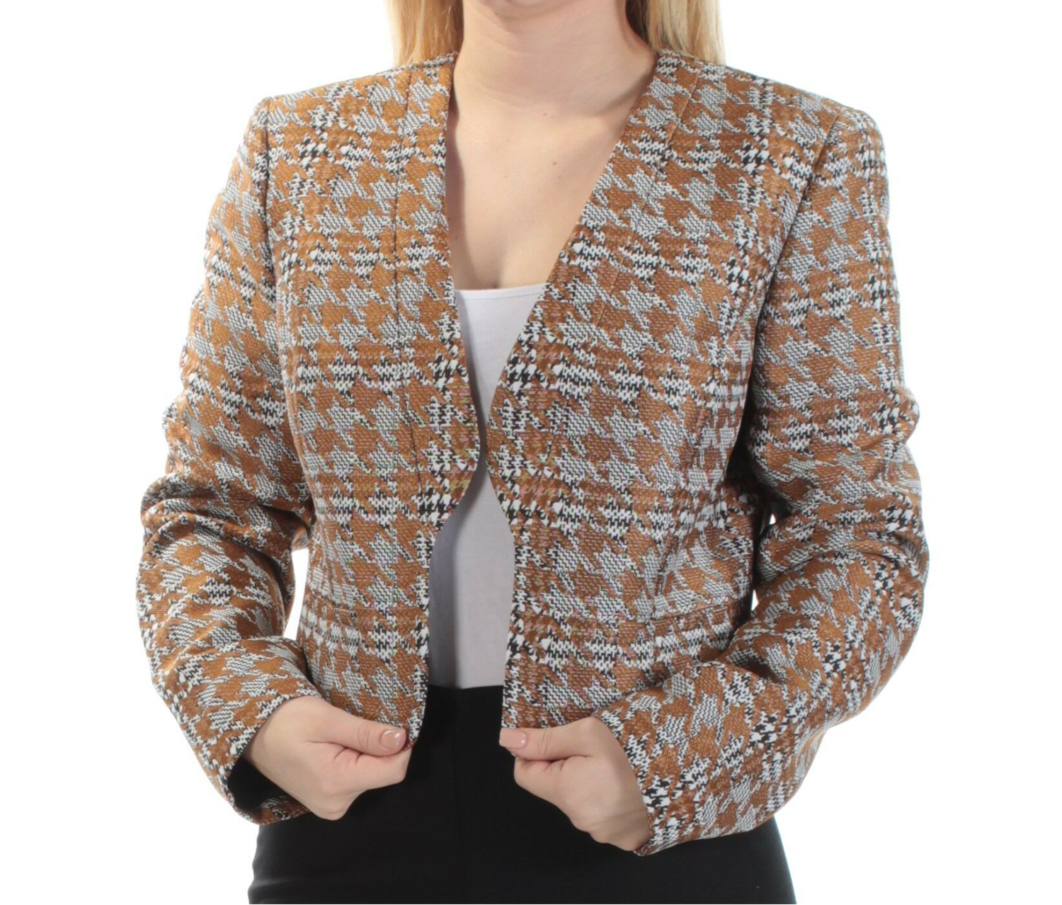 Nine West Metallic Houndstooth Jacket, Brandy Multi