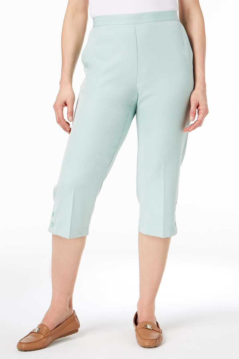 Daydreamer Pull-On Capri Pants, Mint