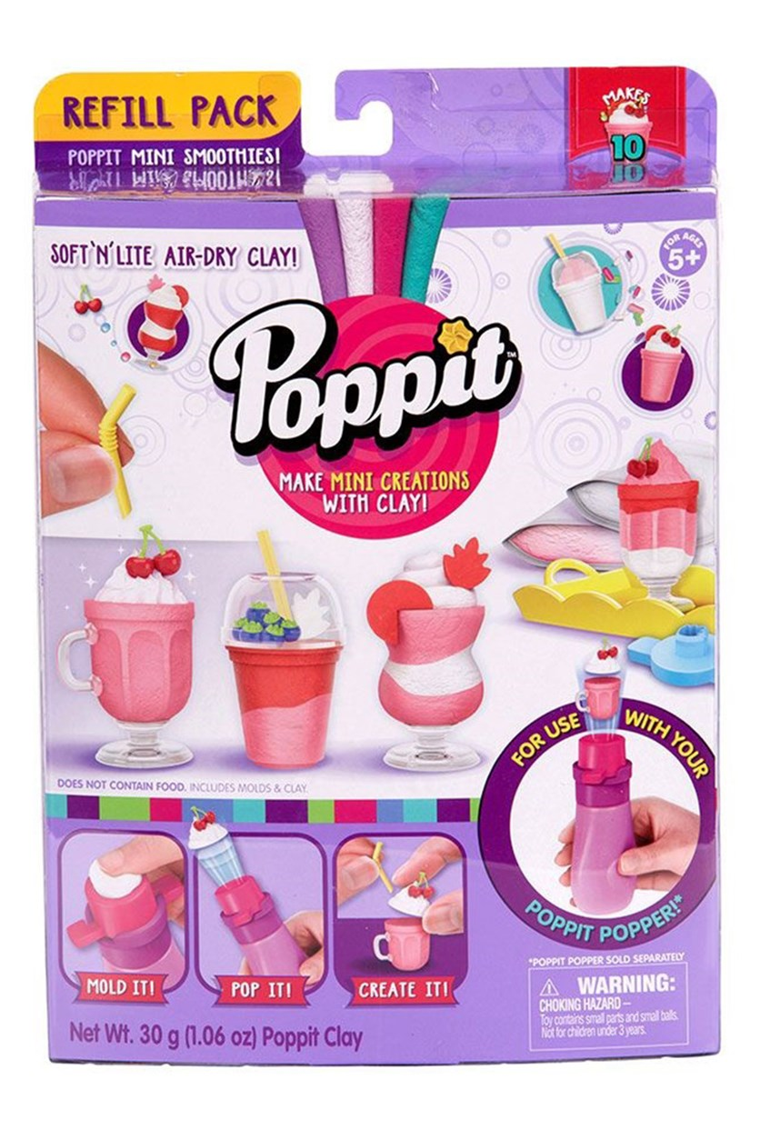 Poppit Clay Refill Pack Mini Smoothies, Pink