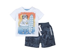Petit Lem Island Surf Top & Shorts Set, Off White