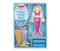 Melissa & Doug Merry Mermaid Wooden Dress-Up Doll and Stand, Blue