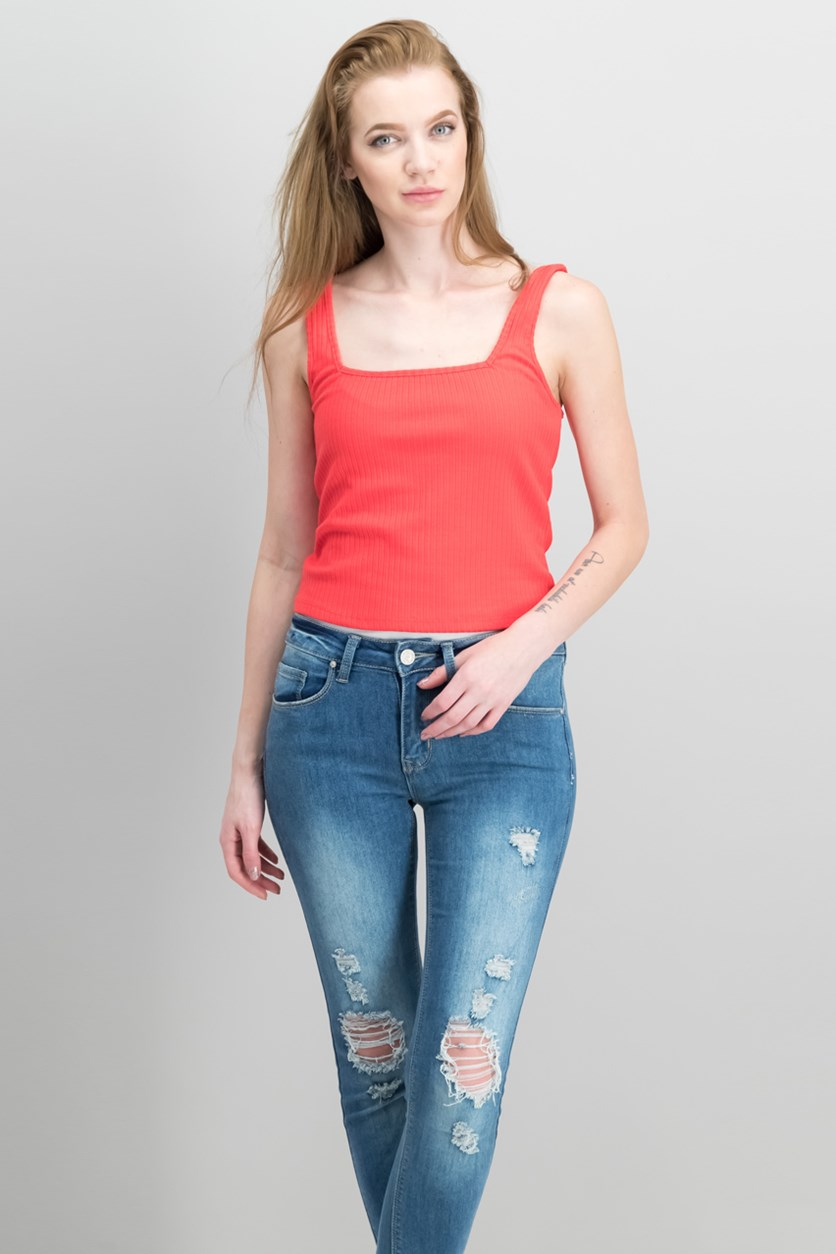 Lee Tank Crop Top, Red Lave