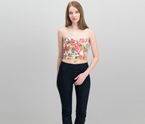 GUESS Petite Floral-Print Cropped Top, White Lucid Jungle