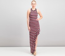 Go Couture Women's Striped Ruffled Maxi Dress, Red Combo