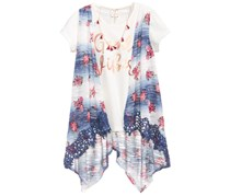 Belle Du Jour 3-Pieces T-Shirt, Vest & Necklace Set, Ivory/Blue