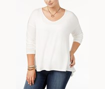 Say What Trendy Plus Size Long-Sleeve Top, Snow White