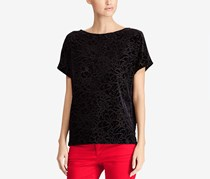 Ralph Lauren Floral-Burnout Velvet Top, Polo Black