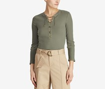 Ralph Lauren Ribbed Lace-Up Top, Sage Moss
