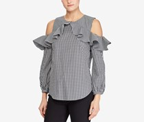 Ralph Lauren Cold-Shoulder Ruffled, Black/White