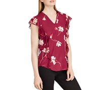Ralph Lauren Floral-Print Ruffled Top, Burgundy
