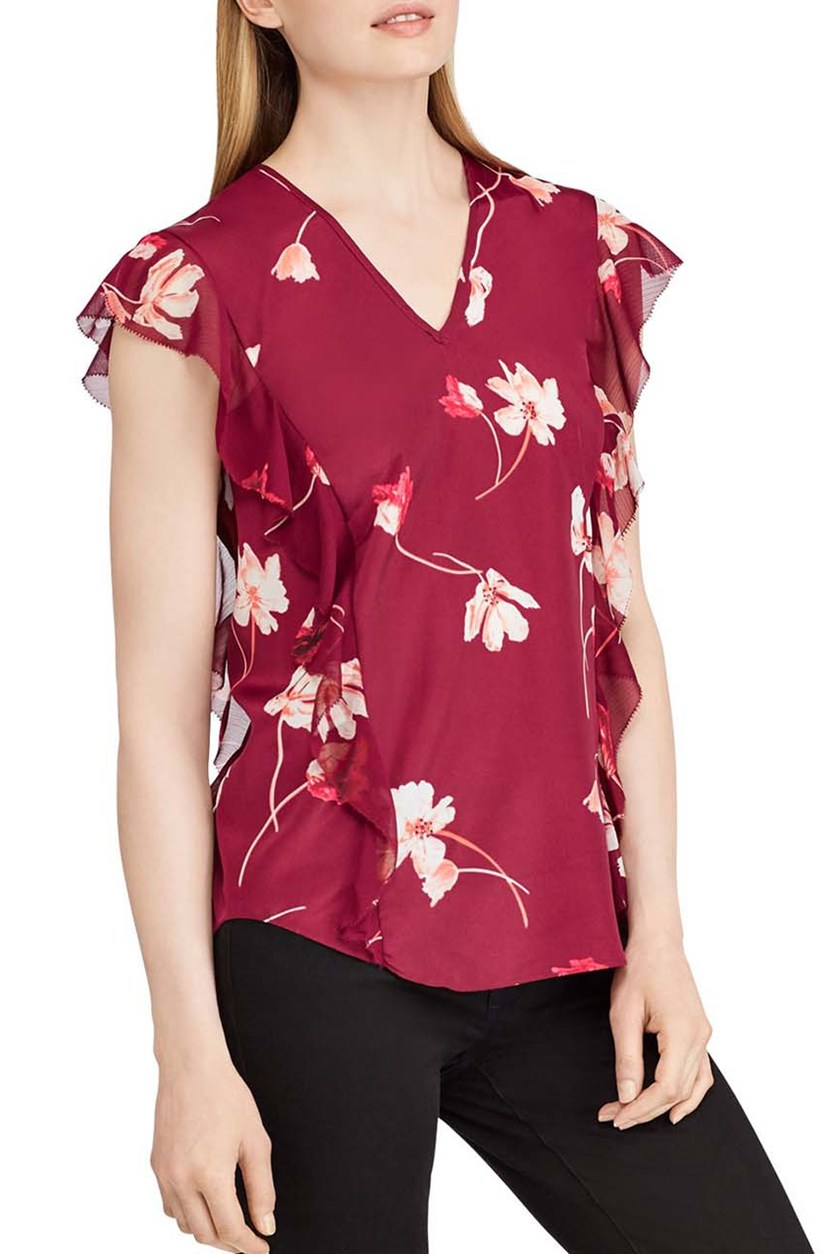 Floral-Print Ruffled Top, Burgundy