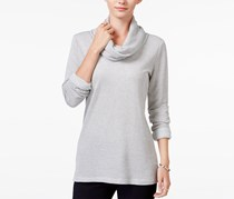 Maison Jules Striped Cowl-Neck Top, Gray Combo