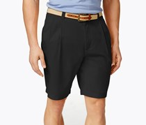 Club Room Men's Double-Pleated Cotton Shorts, Black