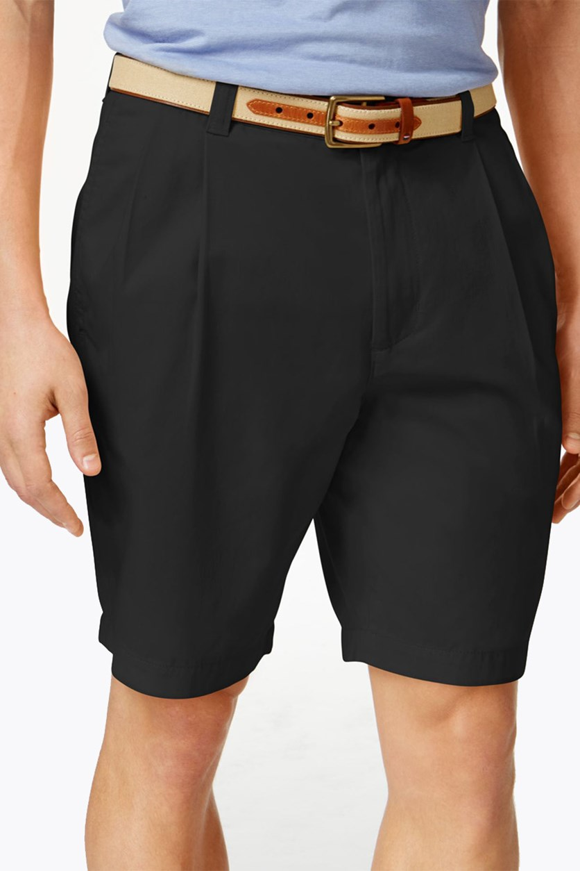 Men's Double-Pleated Cotton Shorts, Black