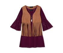 Bcx Girls' 3-Pc. Fringe Vest Crochet Dress & Necklace Set, Plum