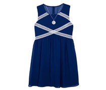 BCX Girl's Sleeveless Fit & Flare Dress, Navy Blue