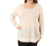 Style & Co. Tunic Ribbed Lace Hi Low Hem Trim Top, Beige