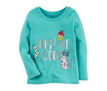Carter's Girls Long Sleeve Just Be Cool Top, Teal