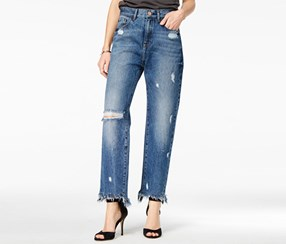 M1858 Women's Frida Ripped Bergan Wash Wide-Leg Jeans, Navy