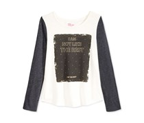 Epic Threads Girls Graphic-Print Top, Holiday Ivory