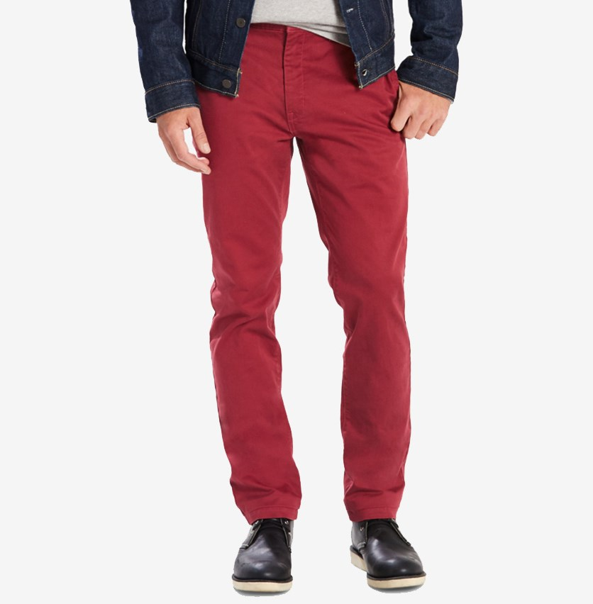 Men's Slim-Fit Utility Chinos, Chilli Red