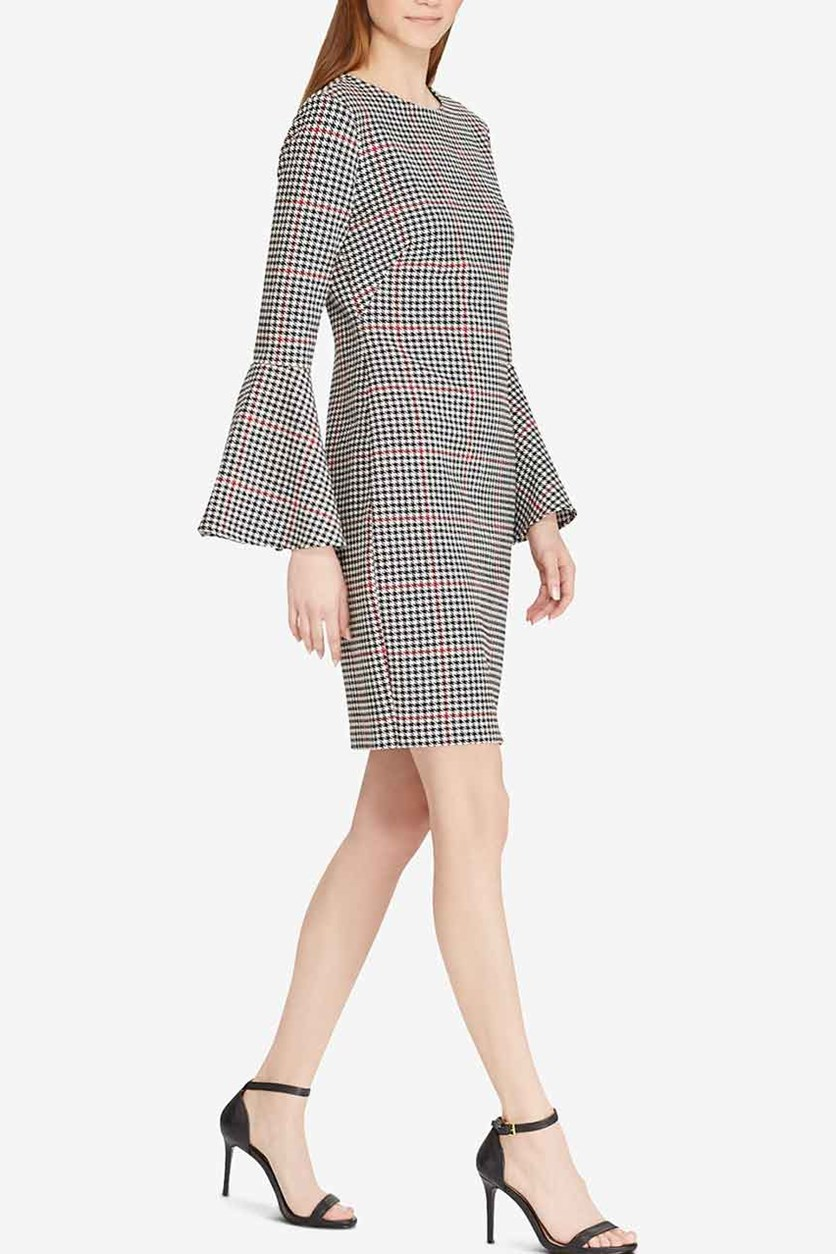 Windowpane Houndstooth Dress, Black Combo