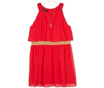 BCX Big Girl Pleated Halter Dress, Red
