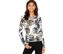 Bar III Women's Printed Snit Top, Egret Combo