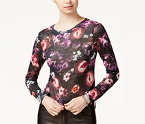 Bar Iii Women's Floral-Print Knit Top, Black/Floral
