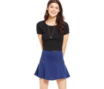 Stoosh Women's Zipper-Trim Knit Skater Skirt, Blue/Black