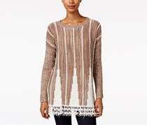 Style & Co. Striped Fringe-Hem Sweater, Truffle Combo