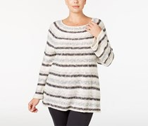 Style & Co. Women's Plus Size Metallic Striped Sweater, White