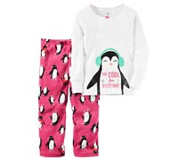 Carters Girl's  2-Pc. Too Cool Penguin Pajama, White/Fushia