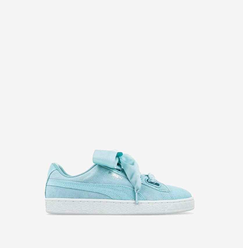 Women's Suede Heart Pebble Sneaker, Aquifer