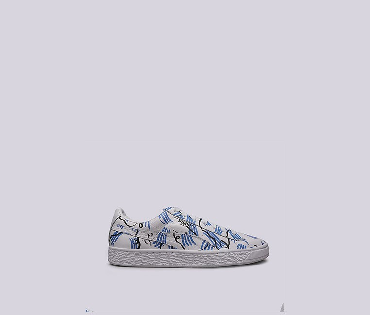 Men's Basket Sm Sneakers,  White/Blue