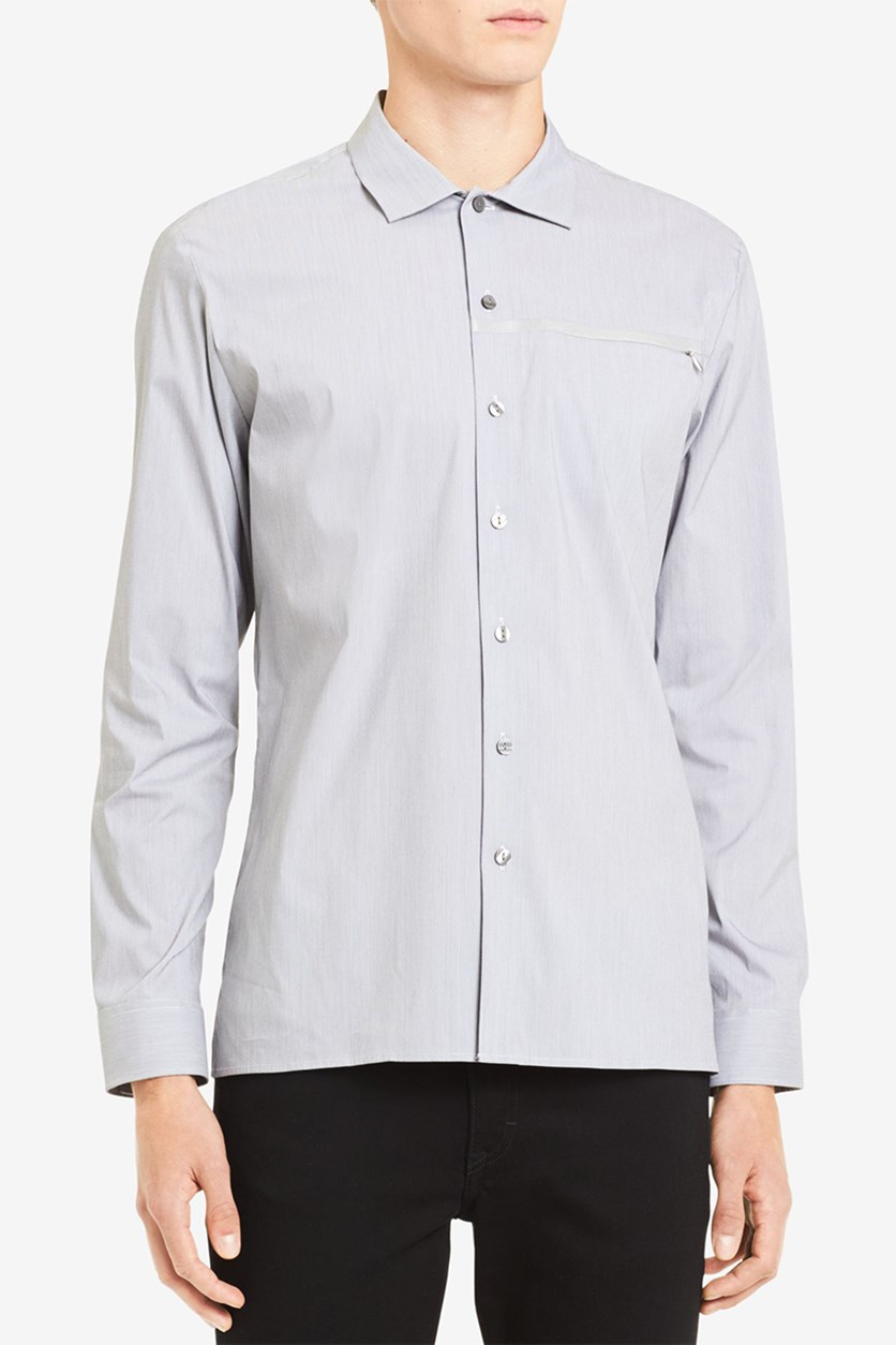 Men's Micro-Stripe Shirt, Dawn Gray