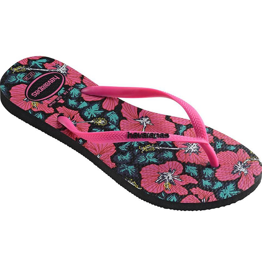 Kids Girls' Slim Floral Flip-Flops, Black/Orchid Rose