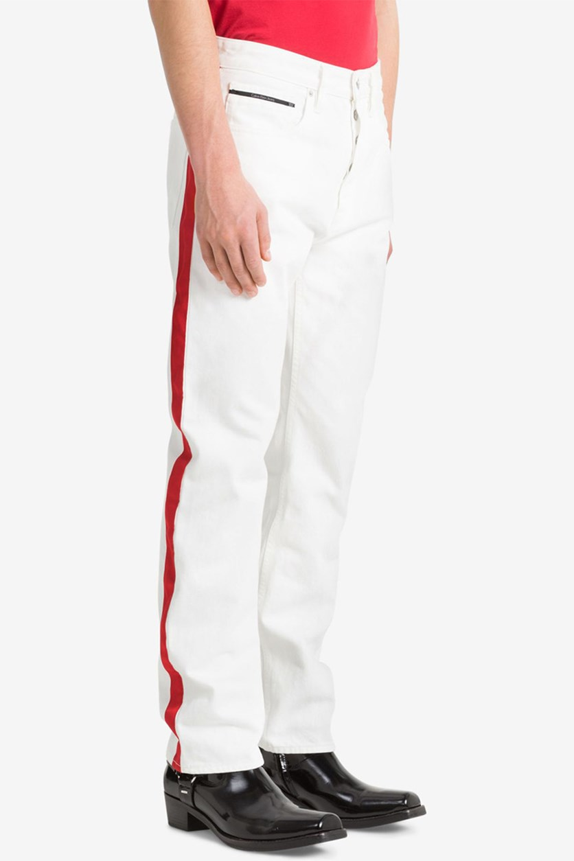 Jeans Men's Western Contrast Straight Fit Jeans, White/Red