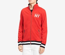 Calvin Klein Jeans Mens Athletic Collage Logo-Printed Sweater, Red Clash