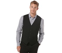 Perry Ellis Men's 5 Button Front Vest, Black